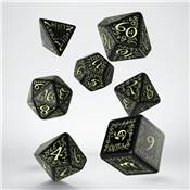 QWORKSHOP - Elvish Dice Set - Black & Glow (x7)