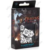 QWORKSHOP - Dragons Dice Set - White & Black (x7)