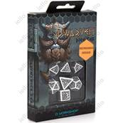 QWORKSHOP - Dwarven Dice Set - White & Black (x7)