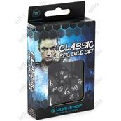 QWORKSHOP - CLASSIC Dice Set - Black & White (x7)