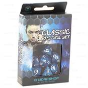 QWORKSHOP - CLASSIC Dice Set - Cobalt & White (x7)