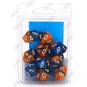CHESSEX - Set de 10 dés 10 - GEMINI - Bleu-Orange/Blanc