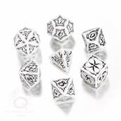 QWORKSHOP - Tribal Dice Set - White & Black (x7)