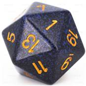 CHESSEX - D20 JUMBO 34 mm - GRANITE Golden Cobalt --NEW--