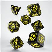 QWORKSHOP - Dragons Dice Set - Black & Yellow (x7)