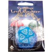 QWORKSHOP - D20 Level Counter - Blue & White (x1)
