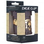 QWORKSHOP - Dice Cups - Flying Dragon Brown & Golden Leather