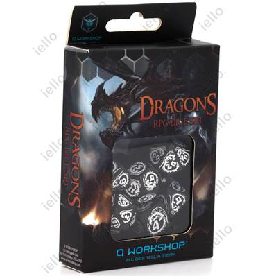 QWORKSHOP - Dragons Dice Set - Black & White (x7)