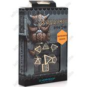 QWORKSHOP - Dwarven Dice Set - Beige & Black (x7)