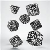 QWORKSHOP - Forest Dice Set - White & Black (x7)