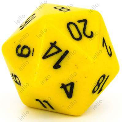 CHESSEX - D20 JUMBO 34 mm - OPAQUE Jaune/Noir