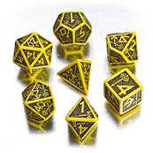QWORKSHOP - Dwarven Dice Set - Yellow & Black (x7)
