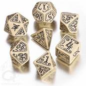 QWORKSHOP - Call of Cthulhu Dice Set - Beige & Black (x7)