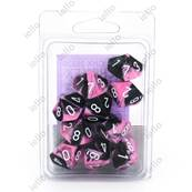 CHESSEX - Set de 10 dés 10 - GEMINI - Noir-Rose/Blanc