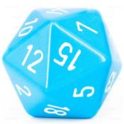 CHESSEX - D20 JUMBO 34 mm - OPAQUE Bleu Clair/Blanc --NEW--