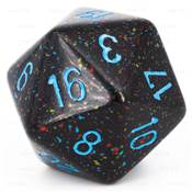 CHESSEX - D20 JUMBO 34 mm - GRANITE Blue Stars --NEW--