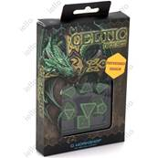 QWORKSHOP - Celtic Dice Set - Green & Black (x7)