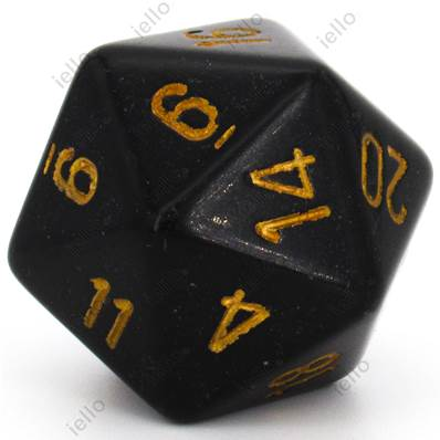 CHESSEX - D20 JUMBO 34 mm - OPAQUE Noir/Or