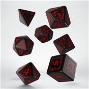 QWORKSHOP - Elvish Dice Set - Black & Red (x7)