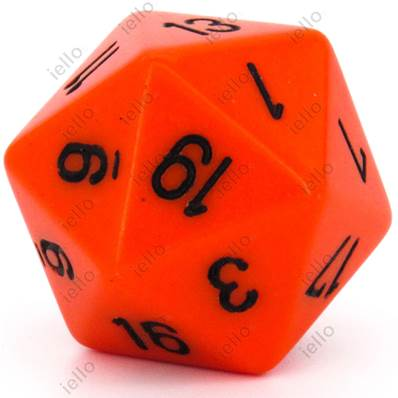 CHESSEX - D20 JUMBO 34 mm - OPAQUE Orange/Noir