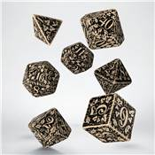 QWORKSHOP - Forest Dice Set - Beige & Black (x7)