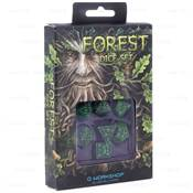 QWORKSHOP - Forest Dice Set - Green & Black (x7)