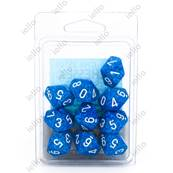 CHESSEX - Set de 10 dés 10 - GRANITE - WATER Bleu/Blanc