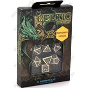 QWORKSHOP - Celtic Dice Set - Beige & Black (x7)