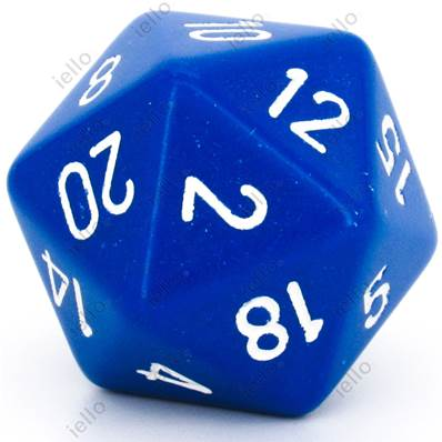 CHESSEX - D20 JUMBO 34 mm - OPAQUE Bleu/Blanc