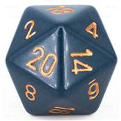 CHESSEX - D20 JUMBO 34 mm - OPAQUE Blue Gris/Cuivre --NEW--